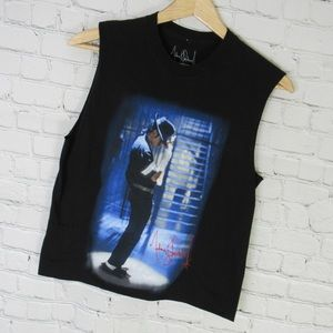 Michael Jackson T Shirt Womens XS Black Crop